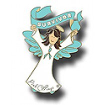 Ovarian Cancer Survivor Lapel Pin Awareness Month September Banner Teal Ribbon Brunette Angel