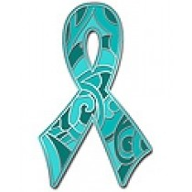 Ovarian Cancer Awareness Lapel Pin Teal Camo Paisley Ribbon Cap Tac