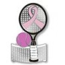 Breast Cancer Awareness Tennis Lapel Pin Racket Ball Net Pink Ribbon Sports Cap Tac