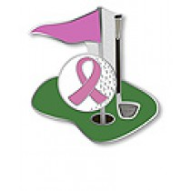 Golf Putting Green Golfer Pink Ribbon Lapel Pin Breast Cancer Awareness Sports Cap Tac