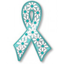 Ovarian Cancer Awareness Teal Ribbon Flower Daisy Lapel Pin Tac