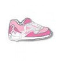 Breast Cancer Awareness Pink Ribbon Walking Tennis Shoe Sneaker Lapel Pin