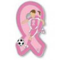 Pink Ribbon Soccer Player Breast Cancer Awareness Lady Girl Sports Lapel Pin Tac