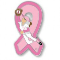 Softball Team Breast Cancer Awareness Pink Ribbon Girls Ladies Sports Lapel Pin Tac