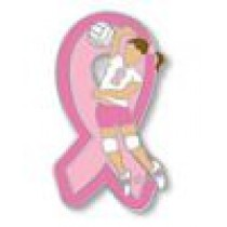 Breast Cancer Volley Ball Team Lapel Pin Awareness Girls Ladies Player Pink Ribbon Sports Cap Tac