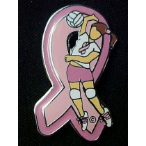 Breast Cancer Lapel Pin Awareness Pink Ribbon Girls Volley Ball Player Sports