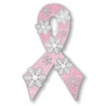 Breast Cancer Lapel Pin Awareness Snowflake Snow Winter Pink Ribbon Cap Tac