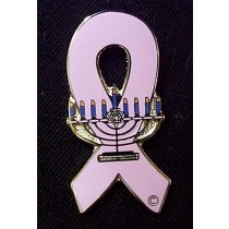 Menorah Jewish Breast Cancer Lapel Pin Awareness Pink Ribbon Cap Tac