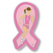 Breast Cancer Awareness Track Lapel Pin Marathon Runner Girl Lady Pink Ribbon Sports Cap Tac