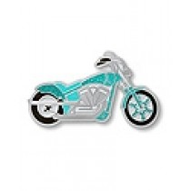 Ovarian Cancer Awareness Lapel Pin Teal Ribbon Motorcycle Biker Charity Ride CapTac