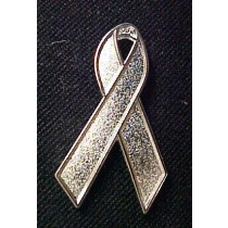Brain Cancer Awareness Textured Silver Ribbon Lapel Pin Tac May is Brain Cancer Awareness Month