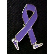 Alzheimer's Memory Walk Disease Awareness Walking Legs Purple Ribbon Lapel Pin