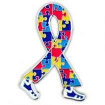 Autism Asperger Awareness Month April Multi Color Puzzle Ribbon Walking Legs Lapel Pin Tac