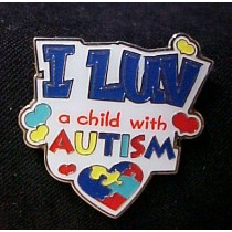 "Autism Asperger Awareness Multi Color Puzzle Lapel Pin Tac ""I Luv A Child with Autism"""