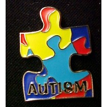Autism Asperger Awareness Multi Color Puzzle Lapel Pin Tac with Lettering