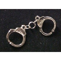 Silver Plate Handcuffs Lapel Cap Tie Pin Tac Police Sheriff  Deputy Security Law Officer