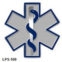 Blue Star of Life Lapel Pin EMT EMS Silver Plated  Medical 109