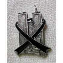 9-11-01 Twin Towers Lapel Pin Hero Black Ribbon Pewter Terrorist Remembrance Cap Tac