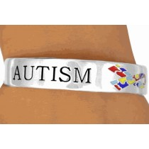 Autism Awareness Puzzle Ribbon Cuff Bracelet Silver Plate Lead Free