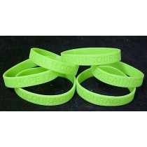 Sandhoff Disease Awareness Support Silicone Bracelet Lime Green 6 Piece Lot
