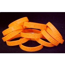 Melanoma Awareness Bracelets Orange Debossed Silicone 100 Piece Fund Raising Lot