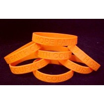 Leukemia Awareness Bracelets Orange Debossed Silicone 6 Piece Fund Raising Lot