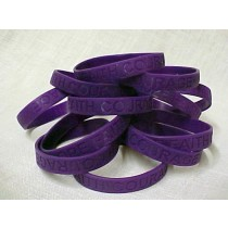 Thyroid Cancer Awareness Bracelets Purple Debossed Silicone 100 Piece Fund Raising Lot