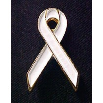 Osteoporosis Awareness Lapel Pin Month is May White Ribbon Cap Tac