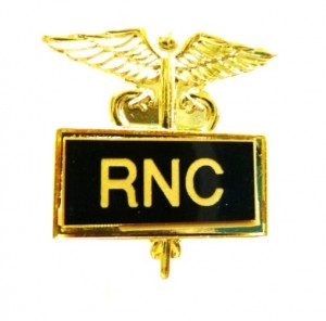 RNC Lapel Pin Registered Nurse Certified Black Inlaid Gold Caduceus 3505B