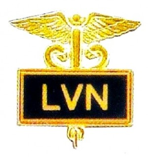 LVN Licensed Vocational Nurse Lapel Pin Black Inlaid Caduceus 3506B