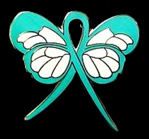 Patau Syndrome Lapel Pin Teal Awareness Ribbon Butterfly Gold Plated