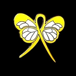 Bladder Cancer Pin Yellow Awareness Ribbon Butterfly Support Pins
