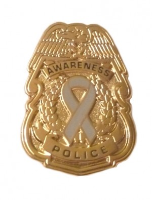 Disabled Children Awareness Pin Gray Ribbon Police Badge Officer Sheriff Cop Causes Gold