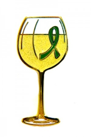 Manic Depression Lapel Pin Green Awareness Ribbon White Wine Glass