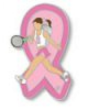 Pink Ribbon Lady Tennis Player Lapel Pin Breast Cancer Awareness Sports Cap Tac