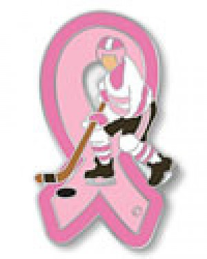 Breast Cancer Ice Hockey Player Lapel Pin Awareness Pink Ribbon Ice Hockey Player Sports Cap Tac